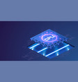 futuristic microchip processor with lights vector image vector image