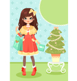 girl and Christmas tree vector image vector image