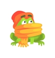 Green Frog Funny Character Wearing Scarf And Hat vector image vector image