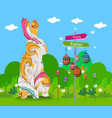 hanging easter eggs ornament with doodle bunny vector image vector image