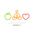 healthy lifestyle icons heart yoga and apple eps10 vector image vector image