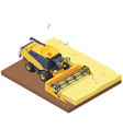 isometric combine harvester in wheat field vector image