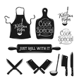 Kitchen related typography set Quotes about vector image vector image