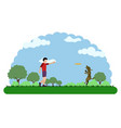 landscape of a park with a kid playing vector image