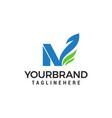 letter n green eco leaf logo template design vector image vector image