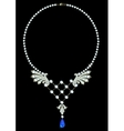 Necklace with sapphire vector image vector image