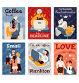 office work cards set vector image vector image
