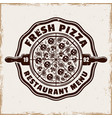 pizzeria emblem logo badge or label with vector image vector image