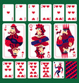 poker playing cards heart suit set vector image vector image