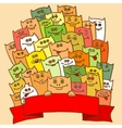 PrintGreeting card Small funny monsters vector image vector image