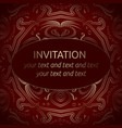 red invitation template with gold ornament vector image vector image