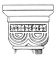 romanesque double-cushion capital vintage vector image vector image