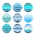 sea circle with blue water waves vector image