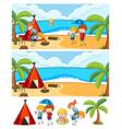 set different horizontal scenes background vector image vector image