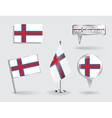 Set of Faroe Islands pin icon and map pointer vector image vector image
