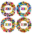 set of four ring of multi-colored circles vector image