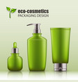 set of realistic green glass bottles eco cosvetic vector image vector image