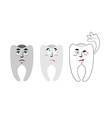 Set of teeth Teeth with emotions Rotten black vector image vector image