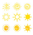 set of yellow sun icons vector image vector image