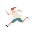smiling casual girl running fast flat vector image vector image