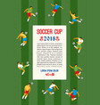 soccer cup template with soccer players vector image vector image