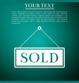 sold sign on green background sold sticker vector image