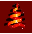 stylized christmas tree made of red ribbon vector image