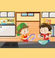 two boys baking in kitchen vector image vector image