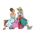 two female friends sitting on shopping vector image vector image