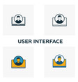 user interface icon set four elements in diferent vector image vector image