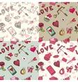 Valentine dayweddinglove eamless pattern set vector image