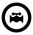 valve black icon in circle vector image