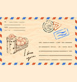 vintage postcard template with copy space vector image