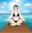 woman practicing yoga at sea vector image vector image