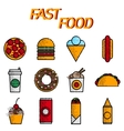 Fast food flat icon set vector image