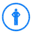 akimbo person pose rounded grainy icon vector image vector image