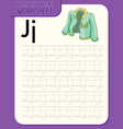 alphabet tracing worksheet with letter j and j vector image vector image