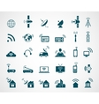 Antenna and wireless technology icons vector image vector image