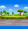 beautiful garden beside the road vector image vector image