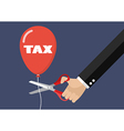 Big hand cutting tax balloon string with scissors vector image vector image