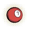 Billiard ball comics icon vector image