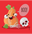 boo halloween pumpkin funny cartoon vector image vector image