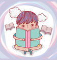 boy read books with clouds to literature day vector image vector image