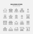 building and real estate icon set outline style vector image vector image