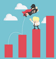 business concept super business jumps over the vector image