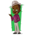 Cartoon cool negro in violet shirt vector image vector image