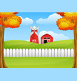 cartoon farm landscape with windmill and barn vector image