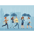 cartoon people with umbrella walking the street in vector image vector image