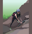 cartoon woman tourist with a backpack climbs a vector image