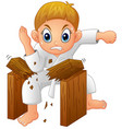 cartoon young boy breaking board vector image